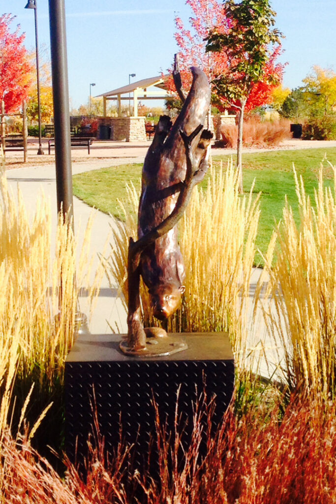 The image is of the River Otter sculpture installed in Quail Creek Park, Broomfield, CO.